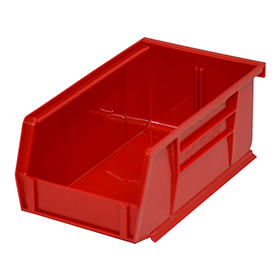 Stackable Plastic Storage Bins in Red