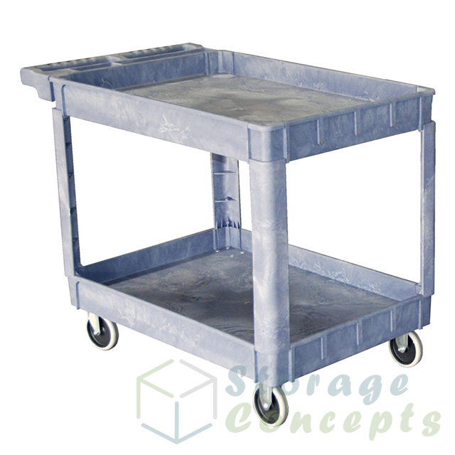 2 Shelf Plastic Service Cart In Gray