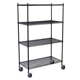 Wire Shelving Mobile Unit in Black
